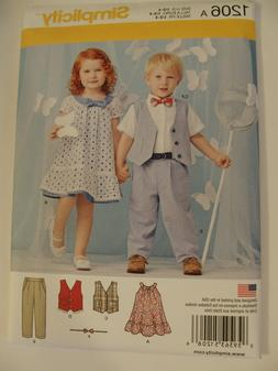 1206 Simplicity Pattern Unisex Toddlers Pants Vest Dress Gir