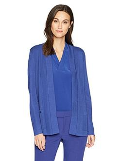 Anne Klein Women's 2 Pocket Malibu Cardigan, Okeefe Blue, Sm