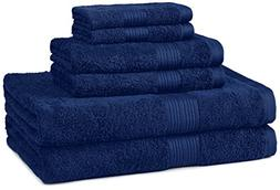 AmazonBasics Fade-Resistant Towel Set 6-Piece, Navy Blue
