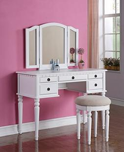 Bobkona F4074 St. Croix Collection Vanity Set with Stool, W