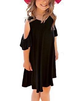 GRAPENT Girls Cold Shoulder Ruffled Short Sleeve Casual Loos