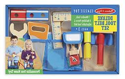 Melissa & Doug Deluxe Tool Belt Set - 5 Wooden Tools, 8 Buil