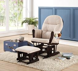 Naomi Home Brisbane Glider & Ottoman Set with Cushion in Cre