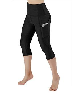 ODODOS High Waist Out Pocket Yoga Capris Pants Tummy Control