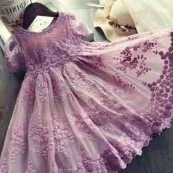 Baby Flower Girl Dresses Lace Embroidery Princess Party Summ