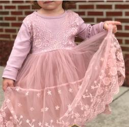 Baby Girl Dress Lace Knit Long Sleeves Tutu Party Dresses Pr