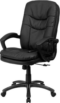 High Back Massaging Black Leather Executive Swivel Office Ch