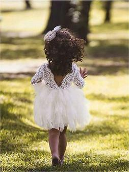 Topmaker Backless A-line Lace Back Flower Girl, Sleeve-ivory