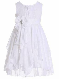 bow dream flower girl dress ruffled chiffon