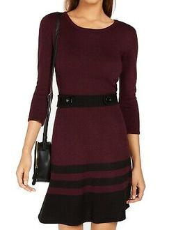 BCX Burgundy Red Small S Junior Sweater Dress Button Detail