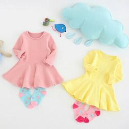 Children Girls Dress, Pure Color Long Sleeves Flouncing One-