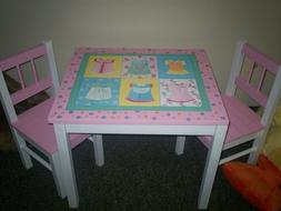 Children's hand painted table and chair Melissa Doug Kid Set