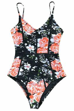 CUPSHE Women's Young and Vigor Print High Waisted One-Piece
