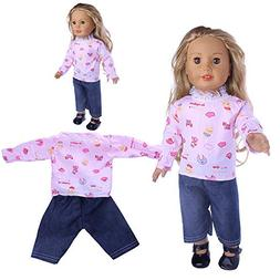 Hisoul Doll Clothes Fashion Cute Print Clothes Wardrobe Clot