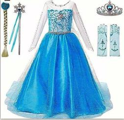Kids Girls Princess Queen Elsa Anna Halloween Cosplay Costum