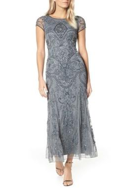 Pisarro Nights Embellished Mesh Gown: Size 16: Steel