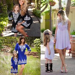 Family Matching Dress Mother Daughter Mom & Me Kid Boho Maxi