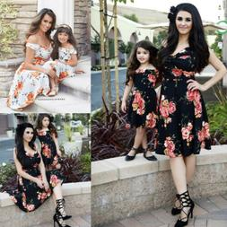 fashion women mother daughter matching dresses summer