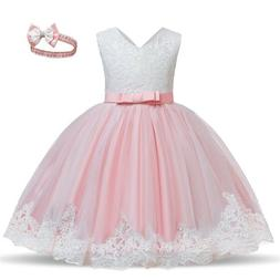 Flower Girl Dress Lace Princess Bow Baby Wedding Birthday Pa