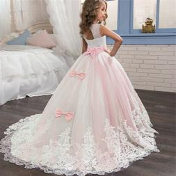 Flower Girl Dress Lace Princess Girls Kids Pageant Dresses W
