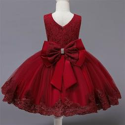 Flower Girl Dress Red Lace Princess Bow Baby Wedding Birthda