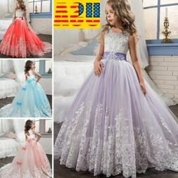 Flower Girl Princess Dress Embroidery Lace Trailing Gown for