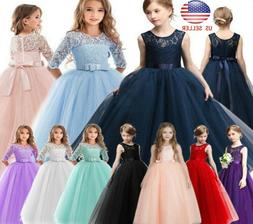 Flower Girls Dress Princess Party Bridesmaid Wedding Kids Fo