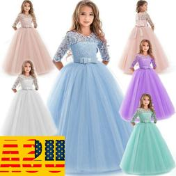 Girl Flower Dress Princess Formal Party Wedding Bridesmaid G