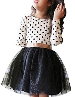 NNJXD Girl Polka Dotted Pleated Multilayer Ruffled Party Dre