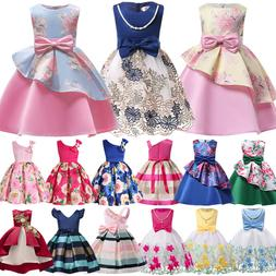 Girls Ball Gown Dress Wedding Princess Bridesmaid Party Prom