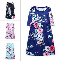 Girls Boho Floral Printed Dress Kid Baby Party Princess Long