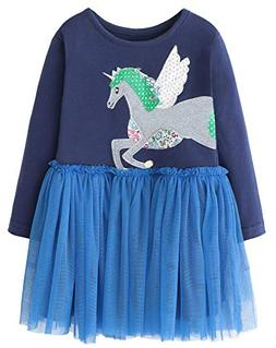 girls cotton longsleeve party dresses special occasion