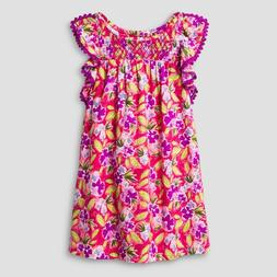 Girls Floral Print Dress Cat & Jack - Bali Pink M 7-8