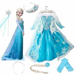 Girls Child Frozen Princess Queen Elsa Cosplay Costume Party