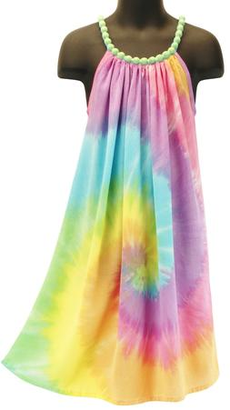Girls Pastel Rainbow Tie Dye Beaded Princess Dress Summer NE