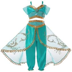 Girls Princess Jasmine Costume Halloween Party Dress Up for
