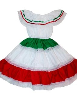 GIRLS TRICOLOR GYPSY PEASANT MEXICAN LACE DRESS CINCO DE MAY