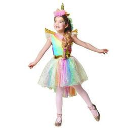 Girls Unicorn Rainbow Costume Tutu Dress Headband Halloween