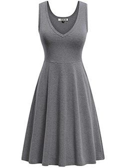 HUHOT Grey Tank Dress, Womens Sleeveless V Neck Dress for Gi