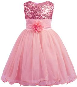 JerrisApparel Little Girls' Sequin Mesh Flower Ball Gown Par