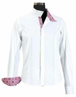 Equine Couture Girl's Kelsey Long Sleeve Show Shirt, White/P