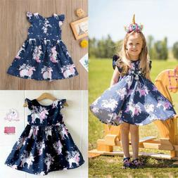 Kid Baby Girls Cartoon Unicorn Summer Floral Party Pageant T