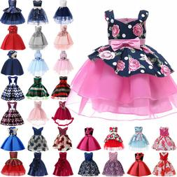 Kids Baby Flower Girls Tutu Dress Wedding Bridesmaid Party P