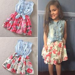 Kids Baby Girls Floral Denim Jeans Bow Dress Summer Casual S
