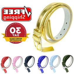 """Kids Classic Leather Belts - 1"""" Wide Solid Color Unisex Girl"""