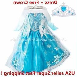 Kids Girls Dress Frozen Elsa Anna Party costume Princess +