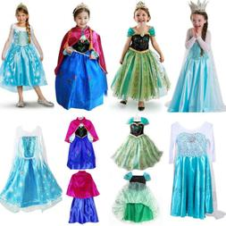 Kids Girls Elsa Frozen Dress Cosplay Costume Princess Anna P