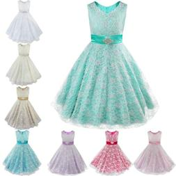Kids Girls Floral Lace Pageant Party Communion Ball Prom Gow