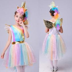 Kids Girls Halloween Unicorn Costume Fancy Dress Cosplay Par