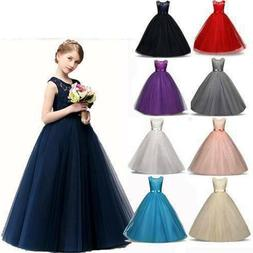 Kids Girls Lace Flower Bridesmaid Maxi Long Dress Party Prin